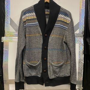 On the Byas Men's Vintage Santa Fe Style Cardigan with Tortoise-shell Buttons